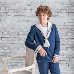 traje comunión de niño marinero color azul marino y crudo