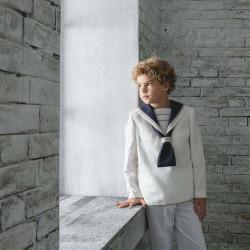 traje comunion de niño marinero crudo y azul marino