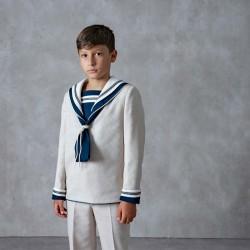traje comunión de niño todo crudo y babero marino