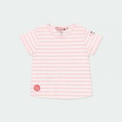 camiseta bebe niña rayas rosa de boboli
