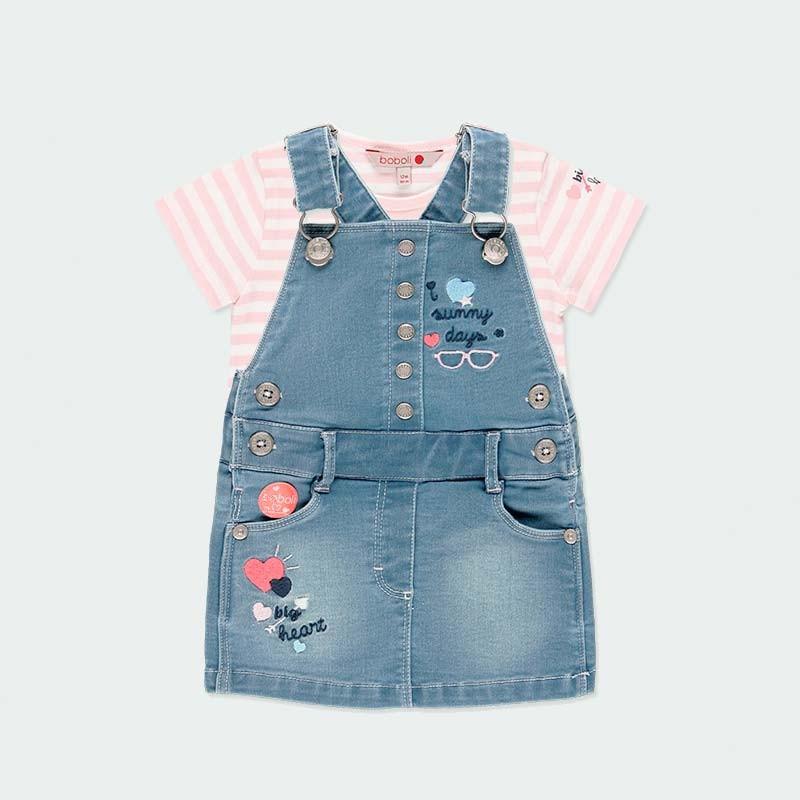 conjunto bebe niña boboli de peto y camiseta rosa