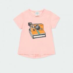 camiseta conjunto bebe niña de punto rosa boboli