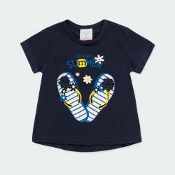 camiseta bebe niña marino y estampado chanclas