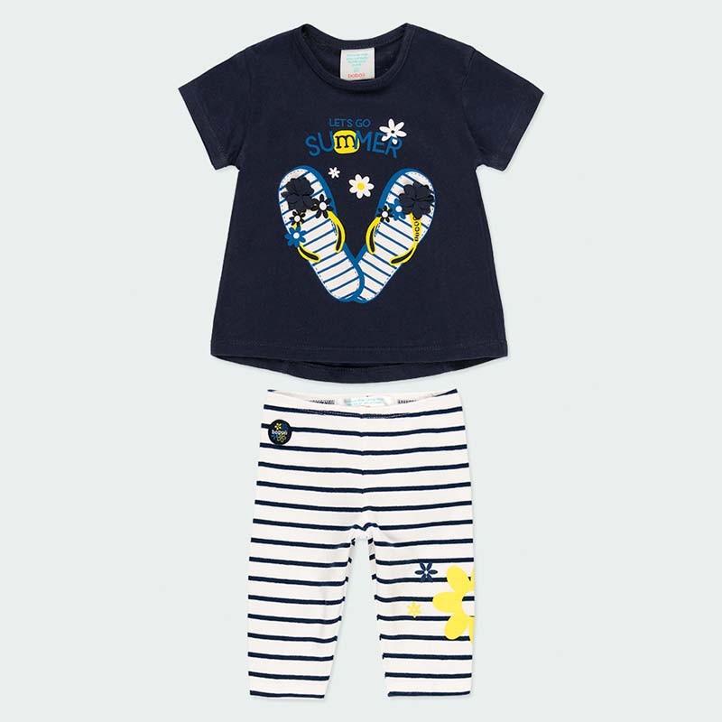 conjunto punto de bebe niña boboli marino y rayas de verano