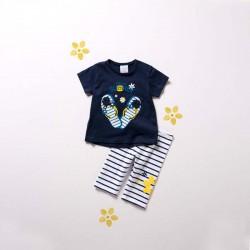 conjunto punto de bebe niña boboli marino y rayas