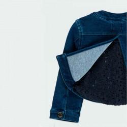detalle por detrás chaqueta vaquera bebe niña azul de boboli