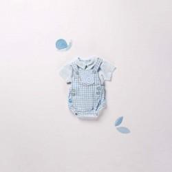 look de ranita y camiseta de manga corta de bebe boboli azul celeste