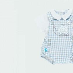 detalle conjunto bebe boboli de ranita y body azul celeste