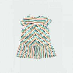 vestido niña boboli de primavera verano a rayas de colores por detrás