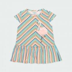 vestido niña boboli de primavera verano a rayas de colores