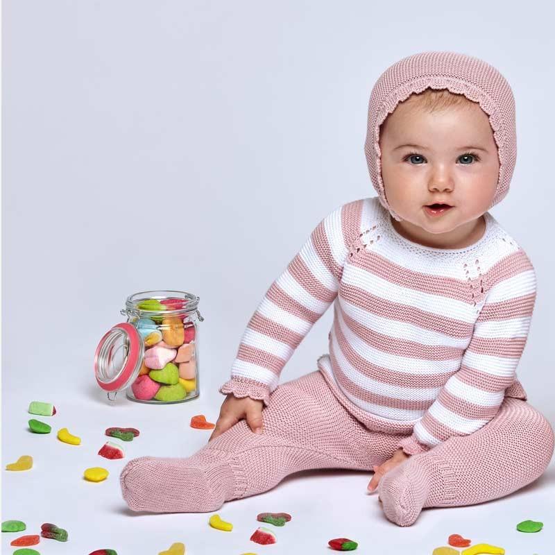 bebe niña con conjunto bebe de juliana rosa y blanco con capota