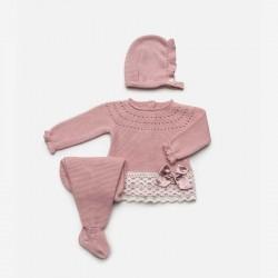 conjunto bebe de punto rosa juliana con capota