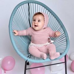 bebe con conjunto bebe de punto rosa juliana con capota