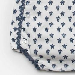 peto bebe juliana de primavera verano estampado tortugas azul