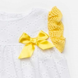 lazo vestido bebe niña encaje blanco y amarillo juliana