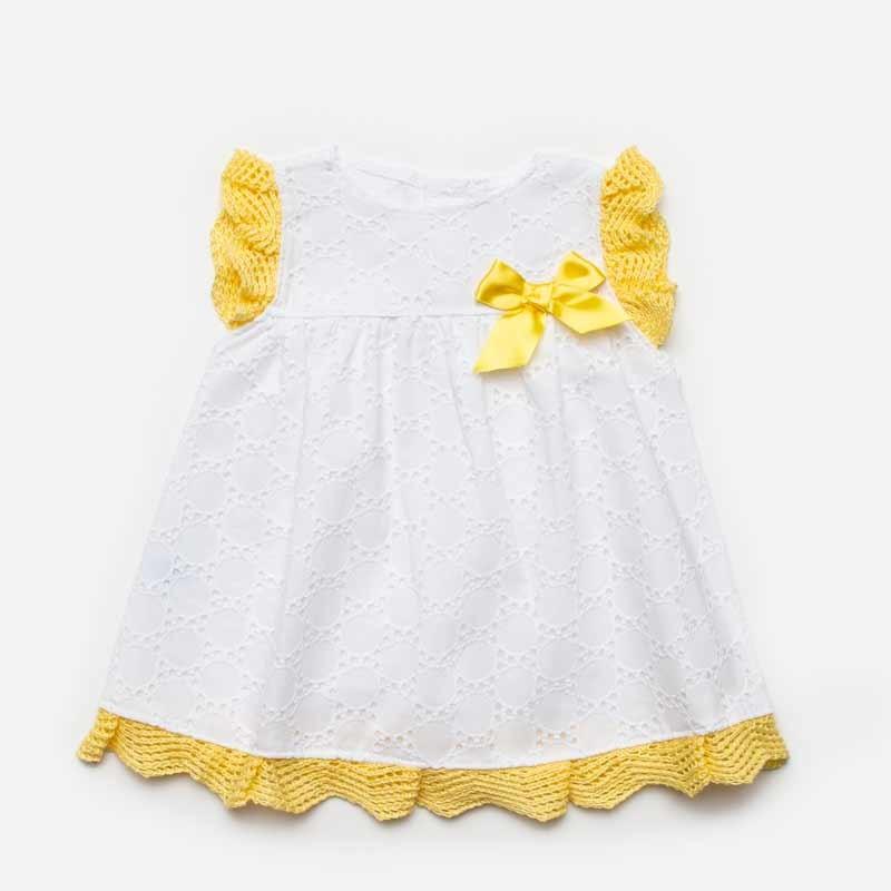 vestido bebe niña encaje blanco y amarillo juliana