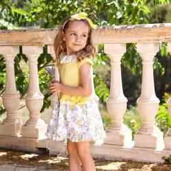 vestido bebe niña corte cadera amarillo de juliana