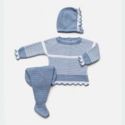 conjunto bebe azul blanco con capota de juliana