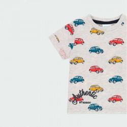 detalle camiseta niño manga corta estampado coches
