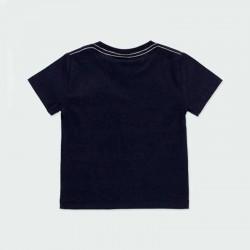 camiseta manga corta niño negra estampada por detrás