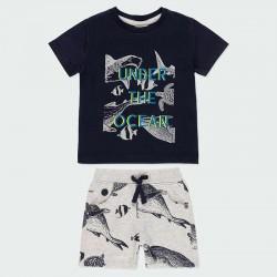conjunto niño bermuda de punto y camiseta negra estampada