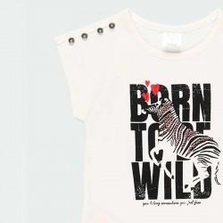 camiseta niña de manga corta boboli con lentejuelas y estampado cebra