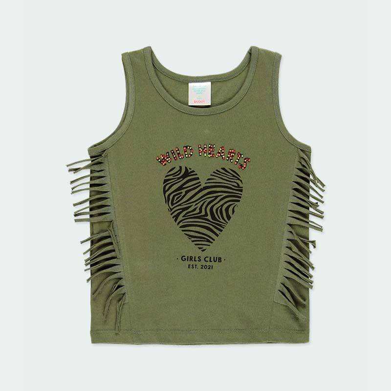 camiseta desmangada de boboli verde y flecos