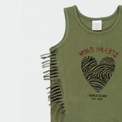 estampado camiseta desmangada de boboli verde y flecos