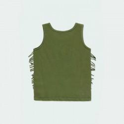 camiseta desmangada de boboli verde y flecos por detrás