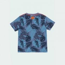 camiseta manga corta estampado azul de boboli por detrás