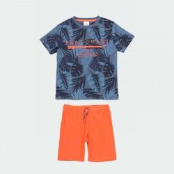 conjunto niño primavera verano azul y naranja