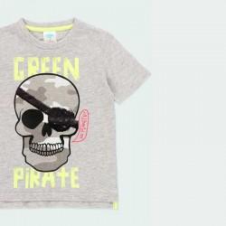 camiseta niño gris con lentejuelas negras
