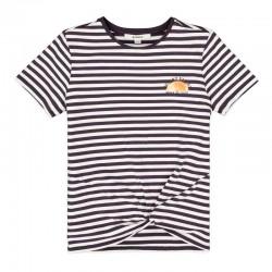 estampado a rayas gris antracita de camiseta niña