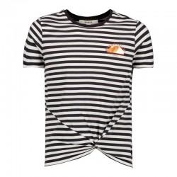 camiseta niña rayas gris antracita de garcia jeans