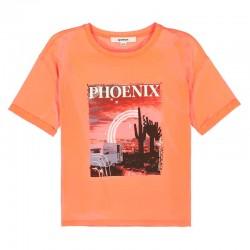 camiseta manga corta niña naranja melocotón