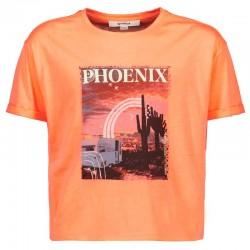 camiseta manga corta niña naranja melocotón fluor