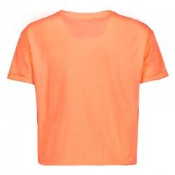 camiseta manga corta niña naranja melocotón fluor por detrás