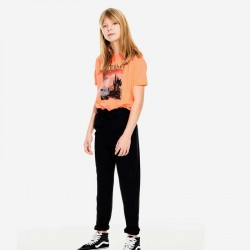 look camiseta manga corta niña naranja melocotón fluor