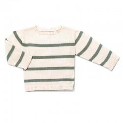 jersey bebe sin costuras verde mint y crema