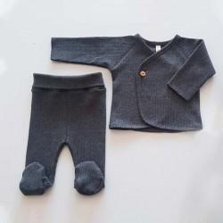 conjunto primera puesta bebe gris antracita lillymom