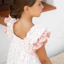 niña con vestido eve children estampado jirafas rosa