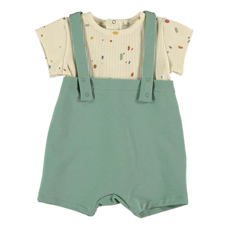 conjunto bebe baby clic verde y vainilla